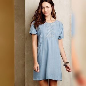 Anthropologie Holding Horses Chambray Dress XS